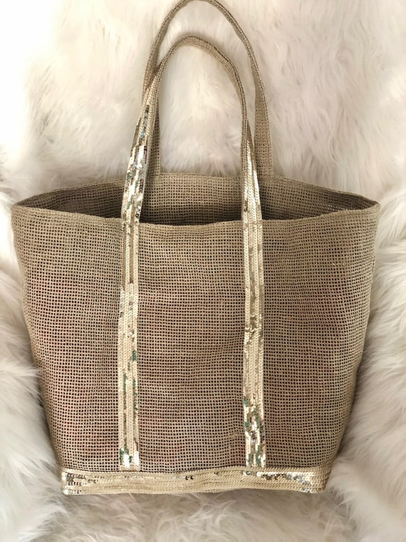 Natural linen mesh tote bag with gold sequins