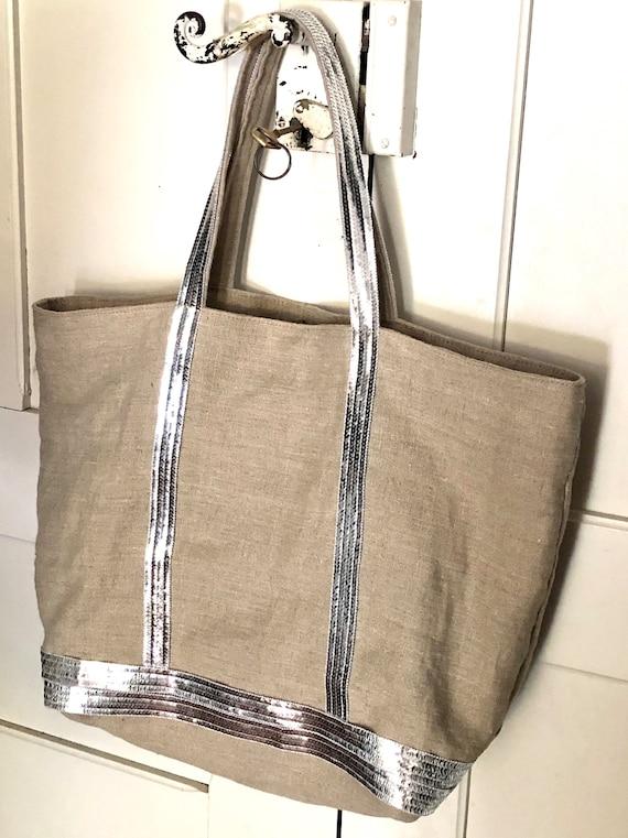 Large natural linen sequin tote bag
