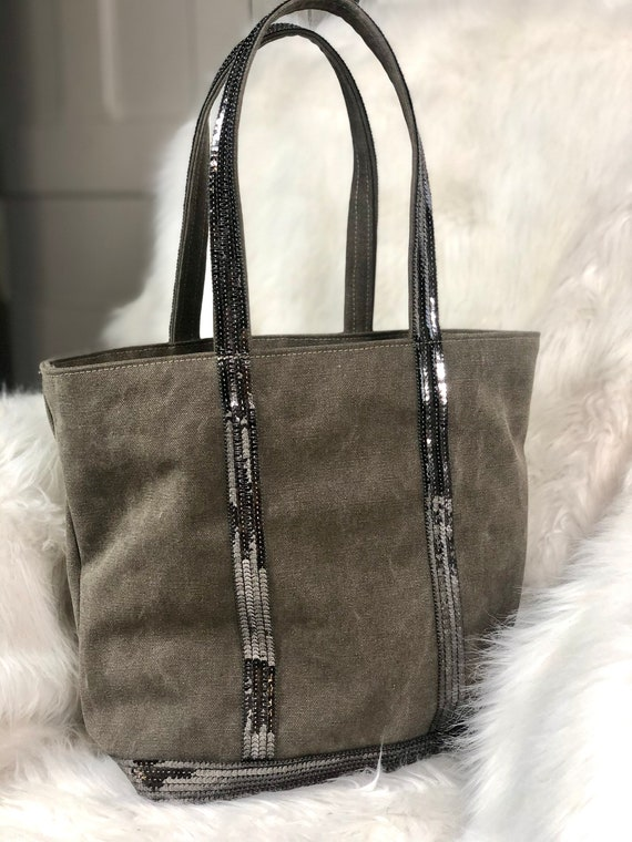 Canvas khaki tote bag silver grey sequins