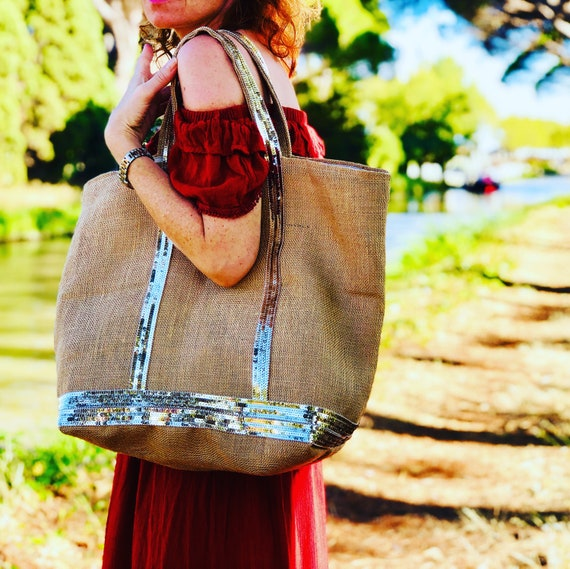 Hessian sequin tote bag, gold sequin natural tote