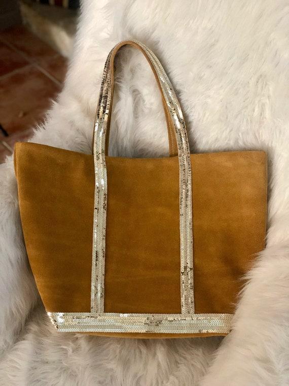 Vanessa Bruno inspiration sac cabas femme en cuir nubuck chameau paillettes dorés