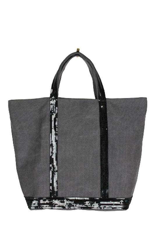 Vanessa Bruno style black sequin tote bag, gray cotton tote bag, sequin tote bag