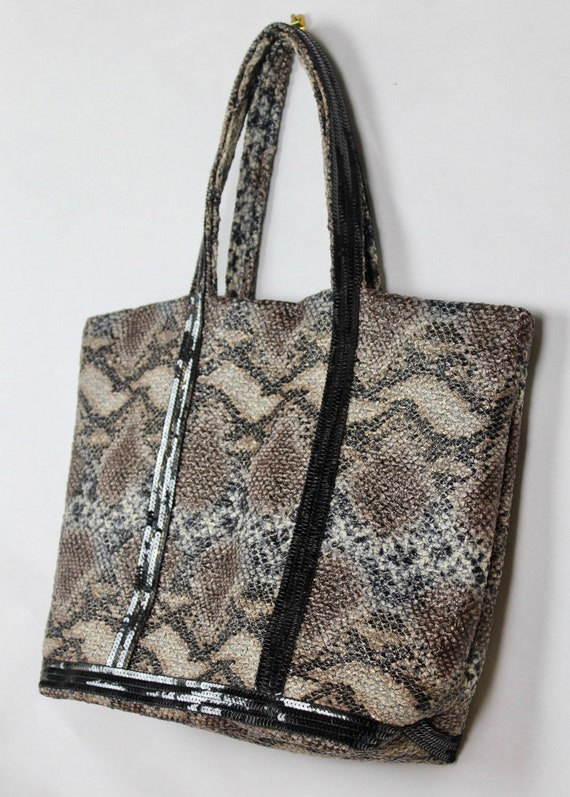 Vanessa Bruno snake skin tote bag, snake print shopper, vanessa bruno purse, vanessa bruno sequin bag