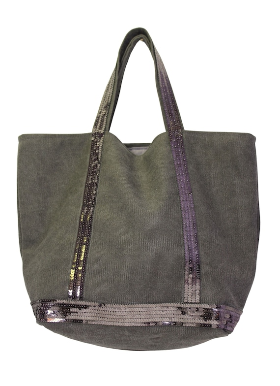 Tote bag in grey coton with silver grey sequins