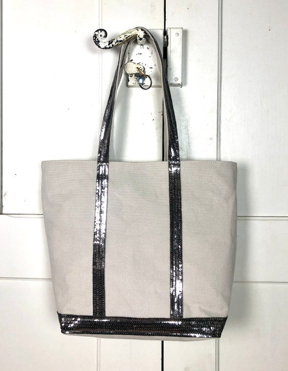 Vanessa Bruno style light  beige tote with silver grey sequins