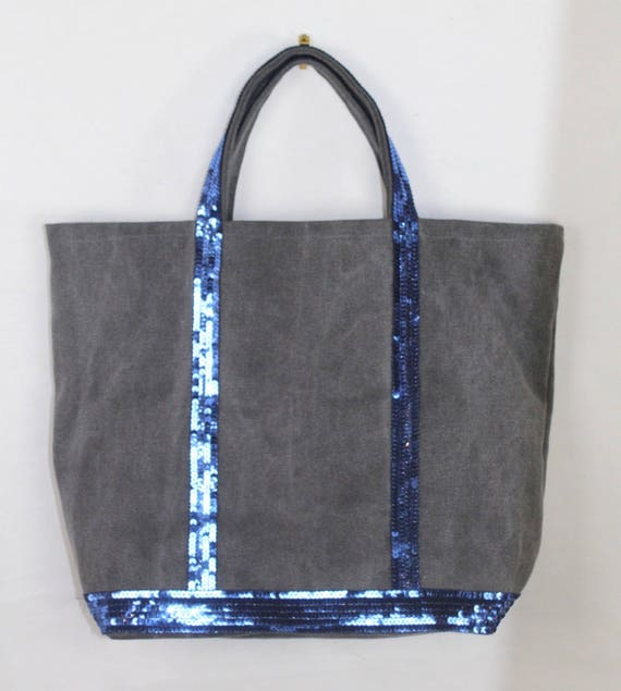Grey cotton tote bag with blue sequins Vanessa Bruno style