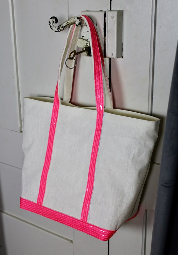 White coated linen tote bag with pink fluorescent sequins