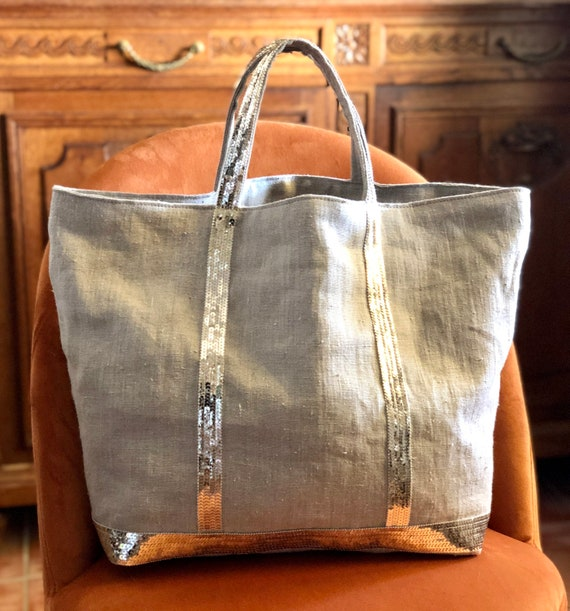 Large bag in soft washed linen flakes gold pale sequins.