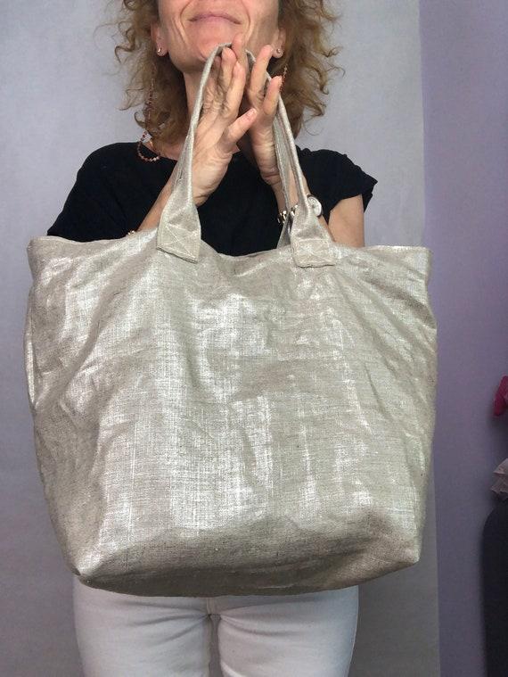 Silver linen tote bag