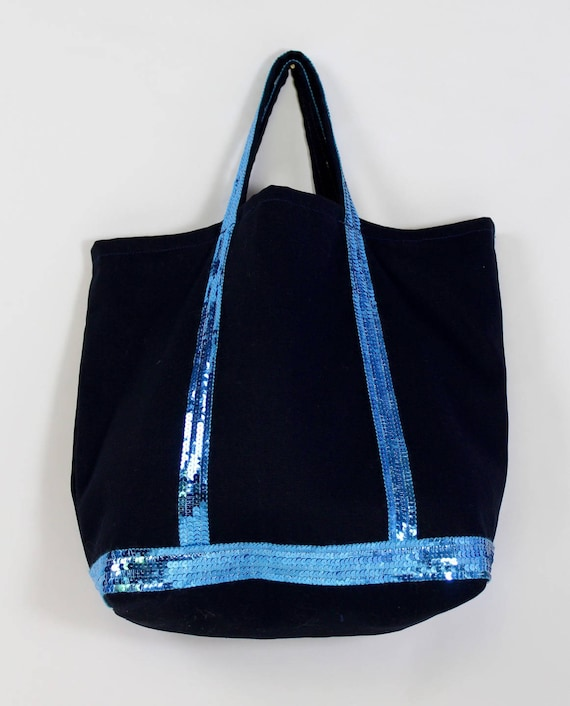 Vanessa Bruno style midnight blue tote with turquoise sequins