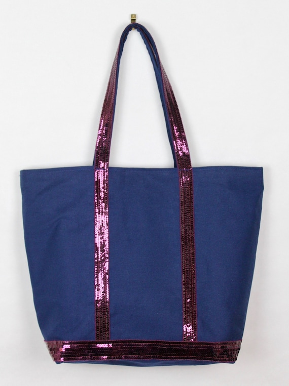 Vanessa Bruno style navy tote bag plum sequins sequin shopper Christmas gift for her workbag glitter purse blue sequin shopper gift idea