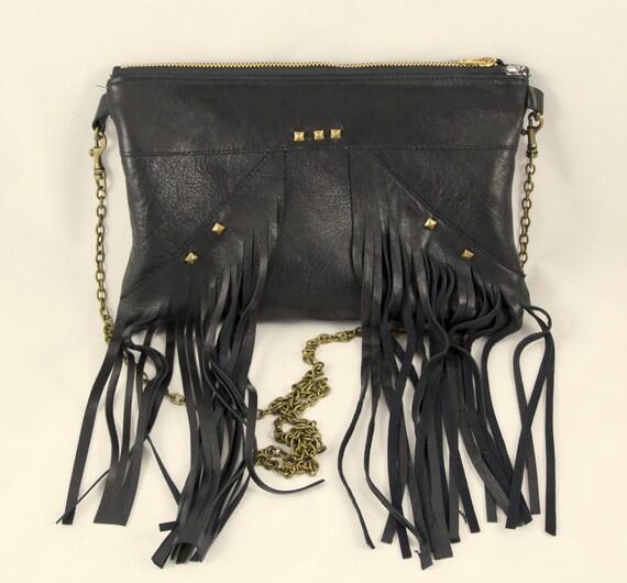 Black leather fringe bag, rock chick bag, black pouch with fringes, shoulder strap bag, black leather clutch bag