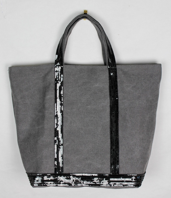 Vanessa Bruno style black sequin tote bag, gray cotton tote bag, sequin tote bag