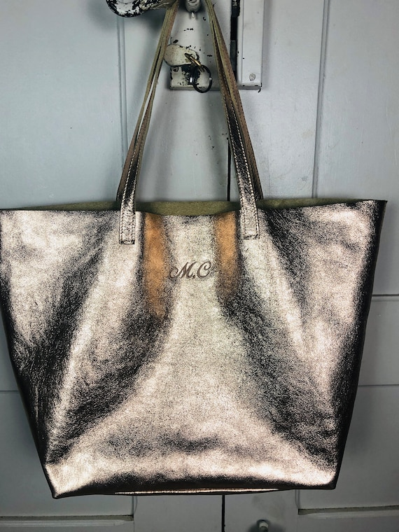 Monogram pink gold leather tote bag