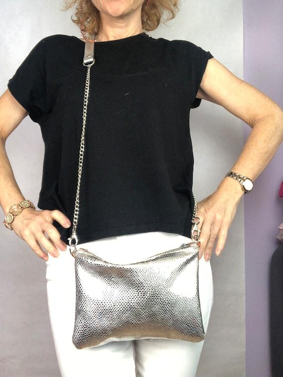 Silver leather purse, silver evening purse, clutch purse, leather clutch, party purse, evening bag, silver leather bag