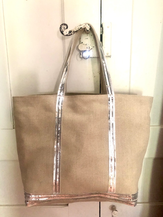 Oversize natural linen tote with silver sequins