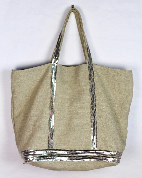 Large natural linen tote bag