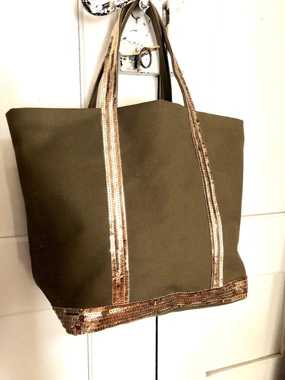 Summer khaki beach tote bag, sequin canvas tote