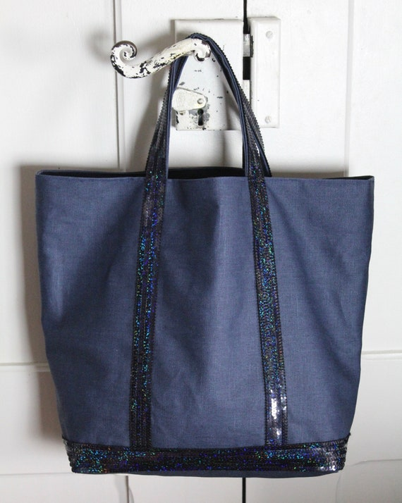 Navy sequin tote bag