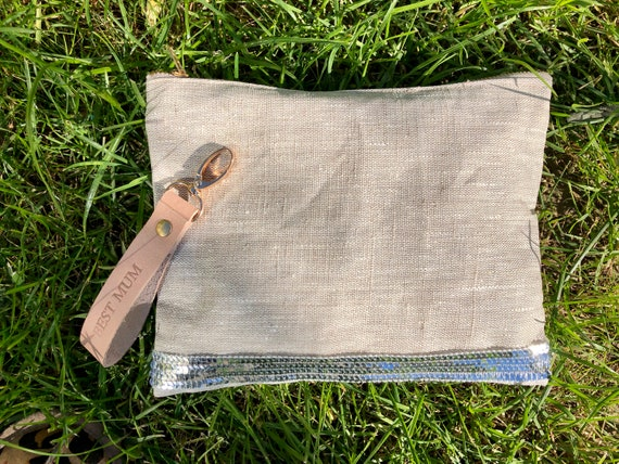 Natural-coated linen pouch silver sequins