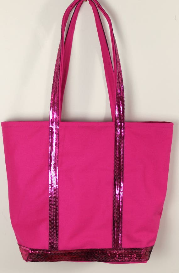 Vanessa Bruno style fushia pink tote with fushia pink sequins Christmas gift
