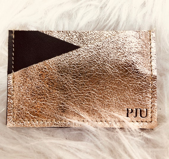 Custom pink gold and black leather card holder