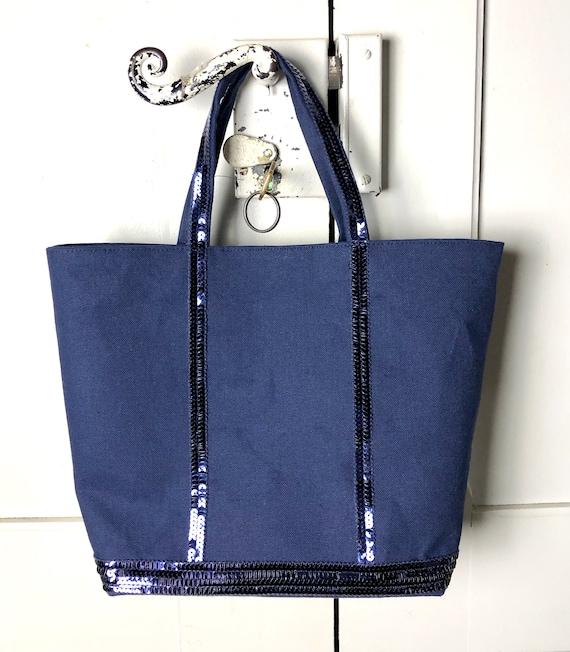 Vanessa Bruno style sequin navy tote bag