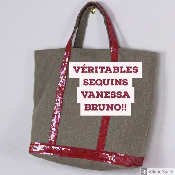 Vanessa Bruno style linen beige tote with pink coral sequins