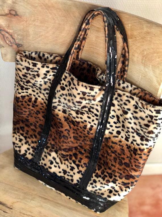 Leopard Vanessa Bruno style tote bag leopard print shopper holiday gift for her glitter gifts leopard skin bag