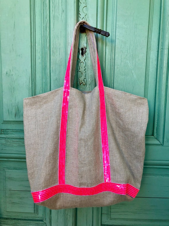 Linen tote bag fluorescent pink sequins
