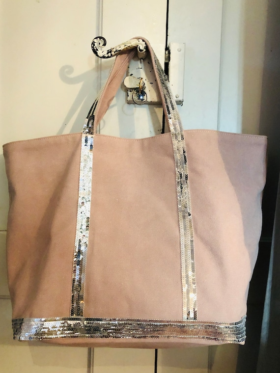 Oversize pale pink cotton tote bag with silver sequins