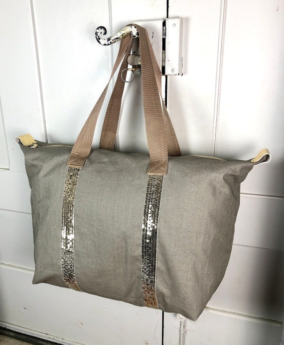 Vanessa bruno style travel bag in taupe coated linen and gold sequins
