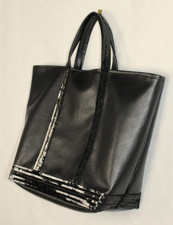 Vanessa Bruno style black faux leather tote bag black sequin tote bag for work gift for her sequin shopping bag diaper bag work bag shopper