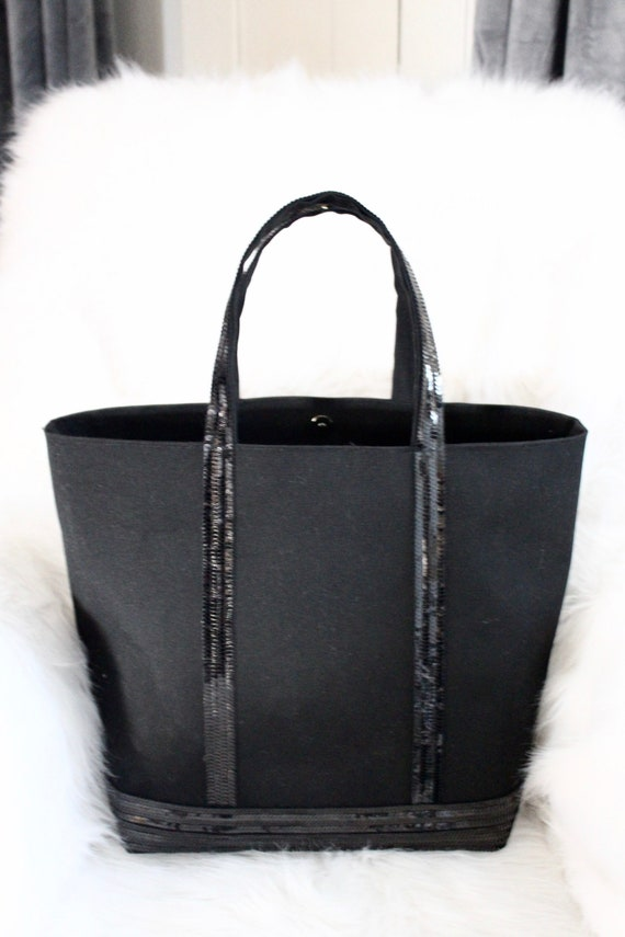 Black coton tote bag with sequins Vanessa Bruno style