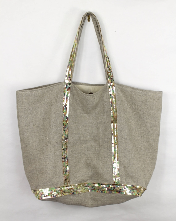 Large supple linen tote bag with pearly sequins