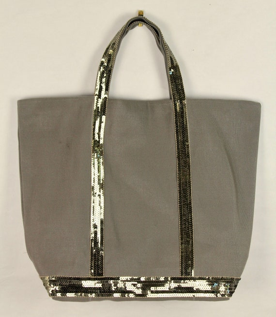 Grey tote bag, Vanessa Bruno style, sequin tote bag, khaki sequin bag, work tote bag, winter tote bag
