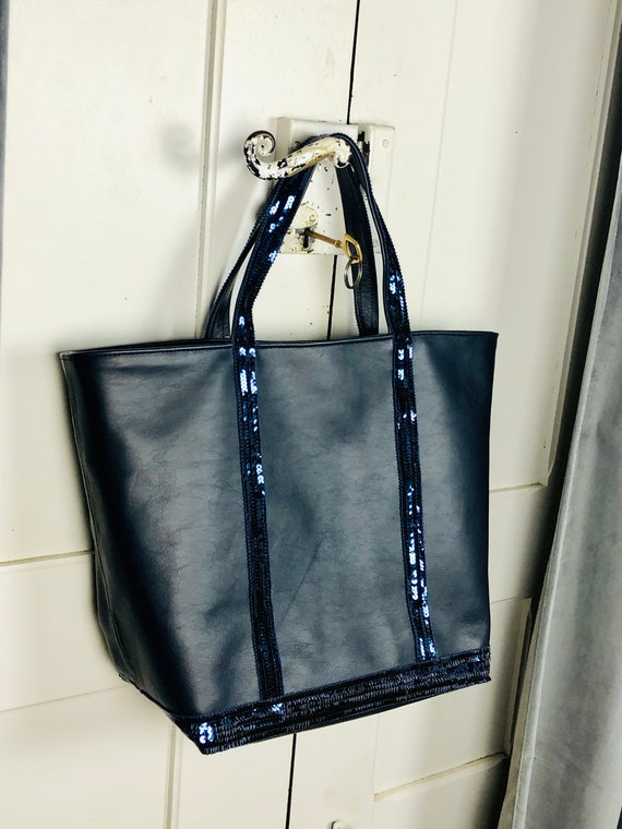 Navy leather sequin tote bag