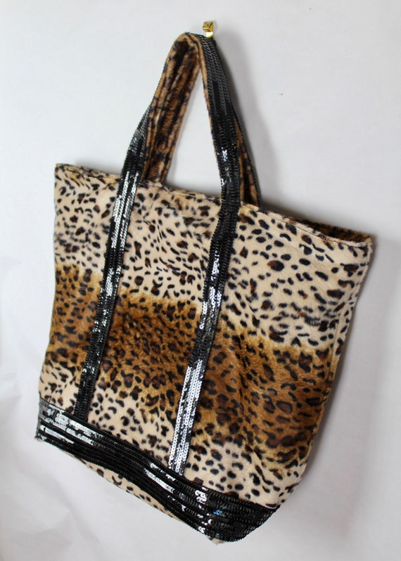 Leopard Vanessa Bruno style tote bag leopard print shopper holiday gift for her glitter gifts leopard skin bag