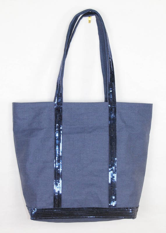 Tote bag in navy blue waterproof linen and navy blue sequins in the sytle of Vanessa Bruno