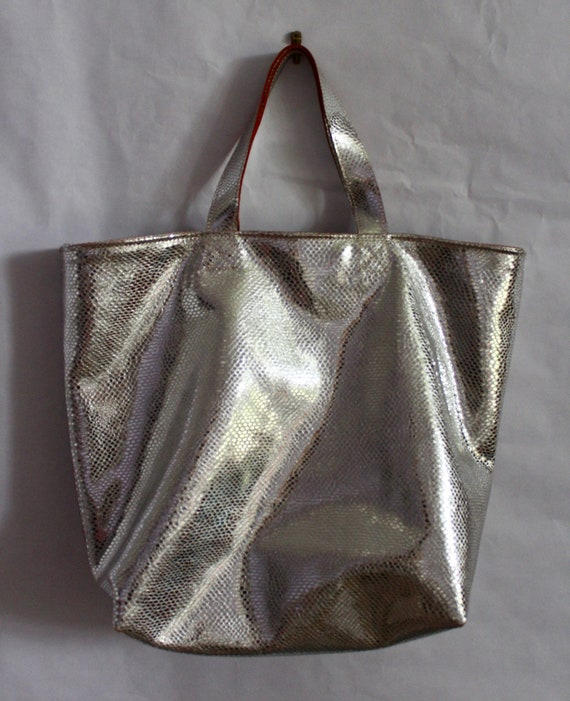 On sale leather silver tote bag