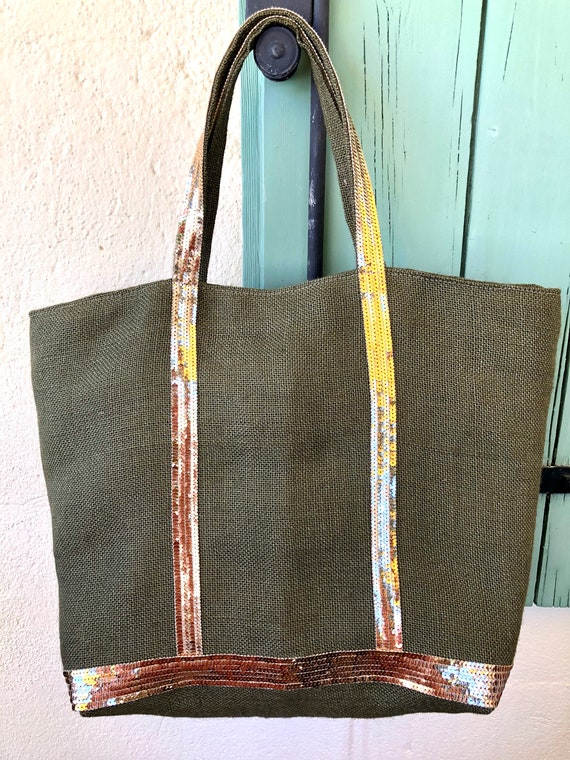 Kaki hessian sequin tote bag, kaki beach bag, oversize summer tote, sequin tote