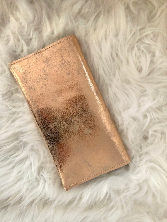 Soft checkbook holder in silver, gold or bronze leather