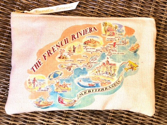 French Riviera printed zipper pouch, dolce vita make up bag