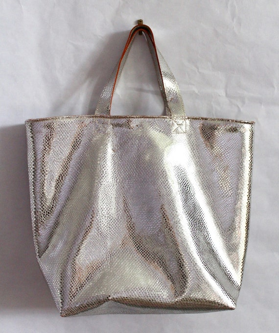 Silver leather tote bag, silver leather shopper, gift for her, silver boho bag, book bag, diaper bag, silver leather purse