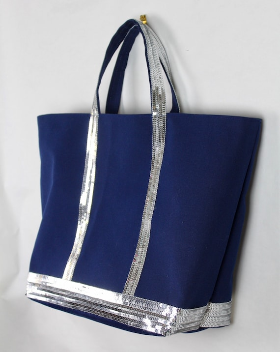 Navy canvas tote bag with silver sequins Vanessa Bruno style