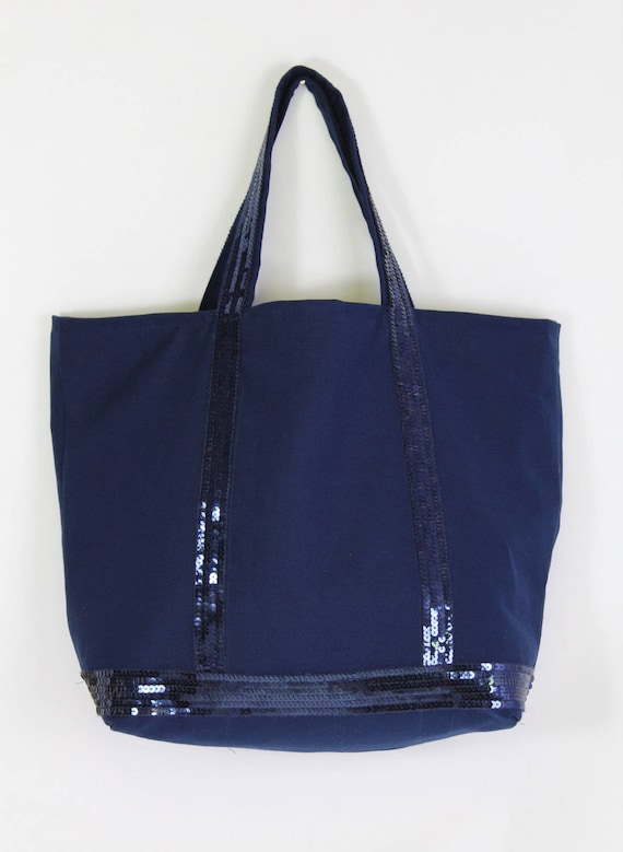 Vanessa Bruno style sequin navy tote bag
