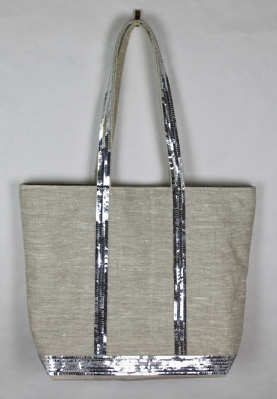 Vanessa Bruno style natural linen tote bag with silver sequins