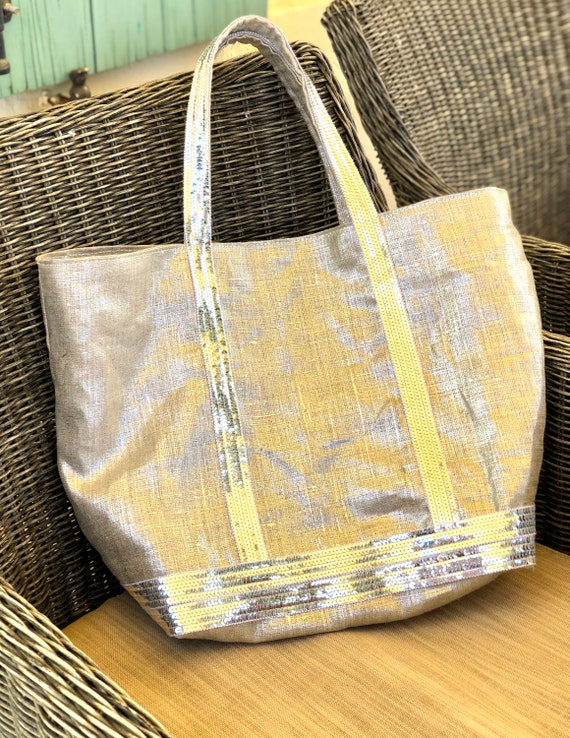 Silver linen tote bag with silver sequins, Vanessa Bruno style tote, silver linen beach bag, silver linen sequin tote