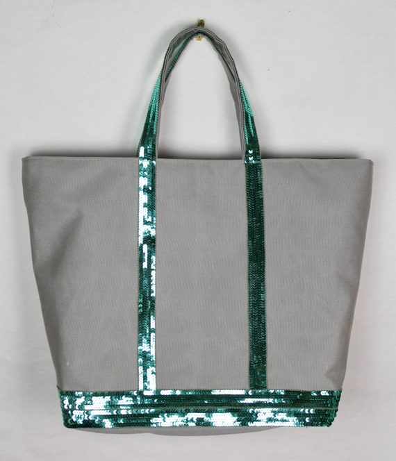 Gray canvas tote bag sequins