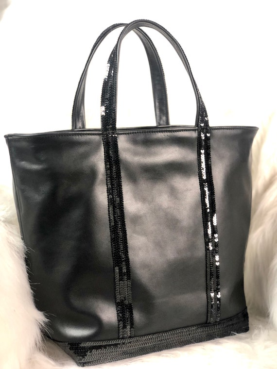 Real black leather tote bag with sequins